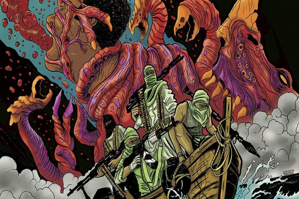 Вфеврале 2015 издательство BOOM! Studios выпустило хоррор-комикс Plunder, решив поместить вцентр событий несамых приятных героев— пиратов. Ачтобы было еще интереснее, топротивостоять имдали нечто гораздо более ужасное, чем вооруженные головорезы.