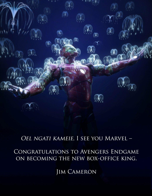 Джеймс Кэмерон поздравил «Мстителей: Финал» спокорением топа кассовых сборов красивейшим артом