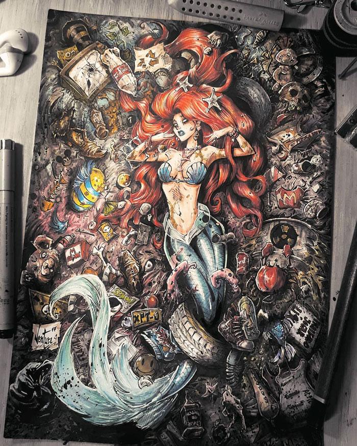 Русалочка впомойке излой Джинн: художник делает мрачные арты сизвестными героями