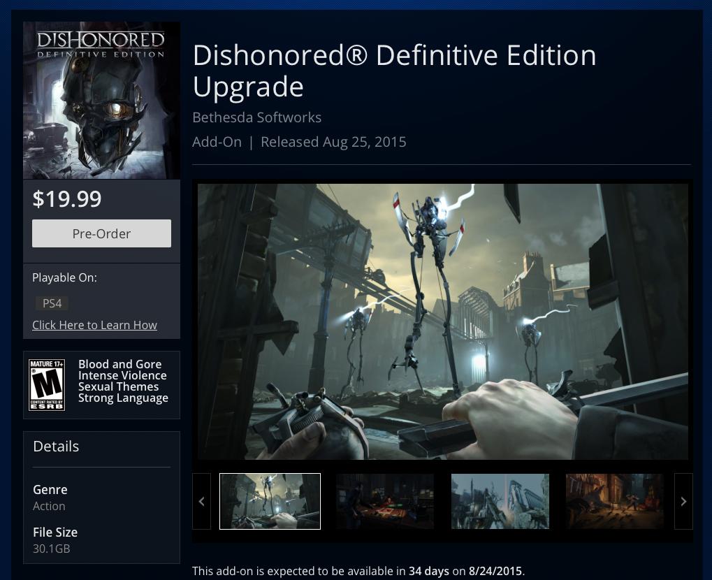 Улучшить Dishonored до Definitive Edition можно будет за полцены