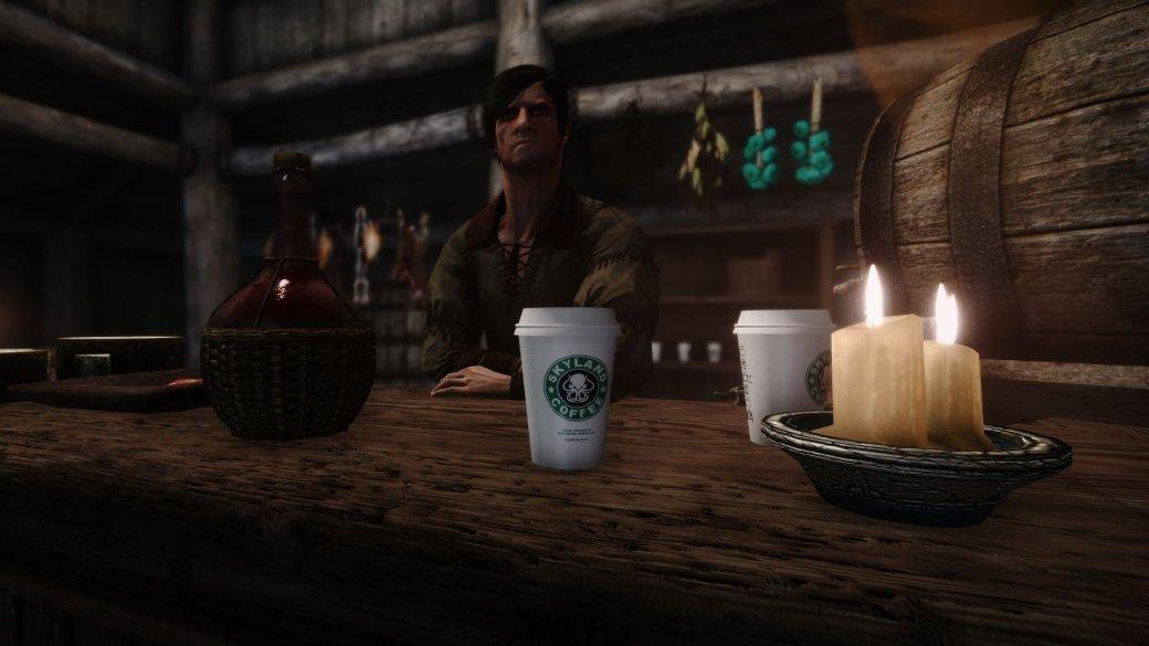 После «Игры престолов» публика стала требовать мода для Skyrim скофейным стаканчиком. Авот ион!