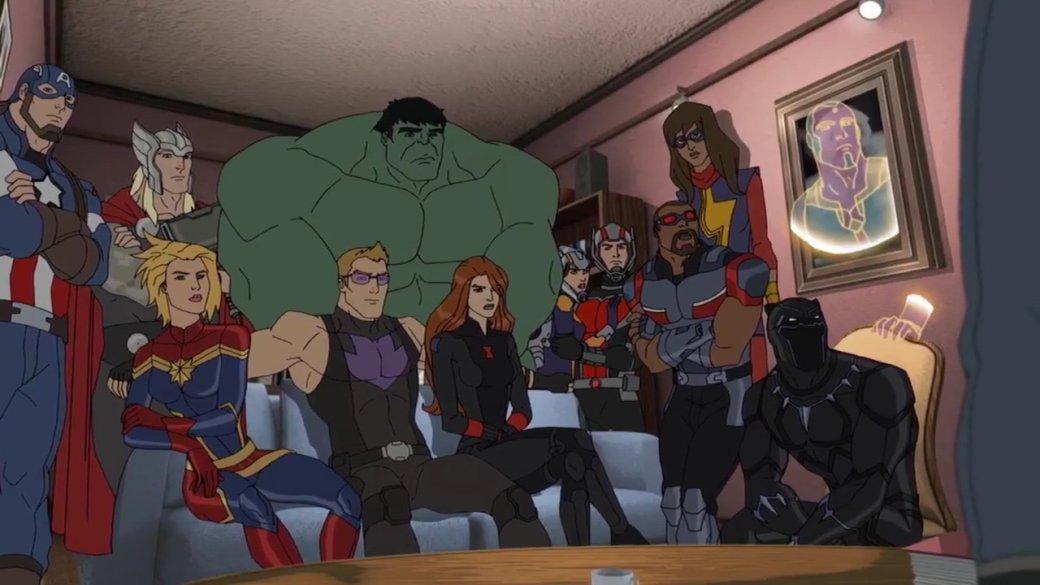 После третьих «Мстителей» всети стала популярна рисованная гифка, накоторой Тор роняет Мьельнир наголову лежащего Таноса, аЖелезный человек стягивает Перчатку сего руки. Вкомментариях подписывали, что именно так должна выглядеть победа Мстителей над титаном. Оказалось, еевзяли измультсериала Marvel, вкотором «Война Бесконечности» закончилась еще в2015 году. Подробнее онем идругих проектах «мультвселенной Marvel» ипойдет речь вэтой статье.