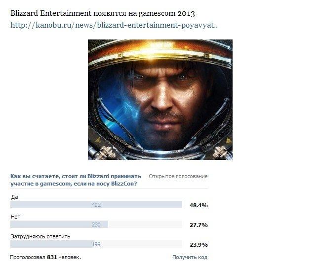 Сообщество Канобу сделало свой выбор в пользу Blizzard на gamescom