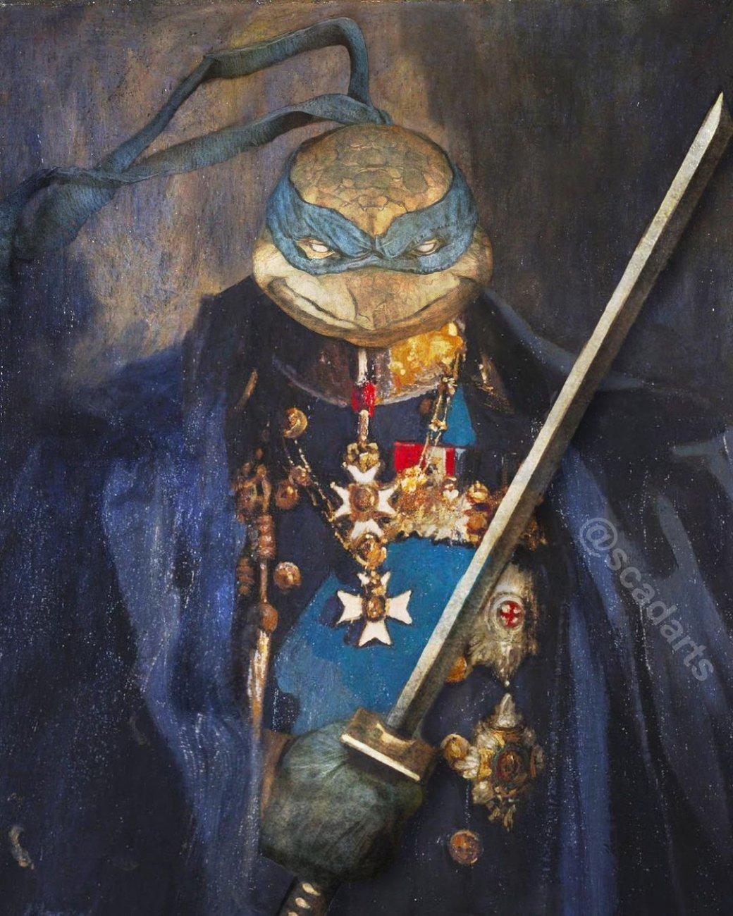 Майки, Раф, Лео иДонни: художник показал Черепашек-ниндзя встиле 18 века