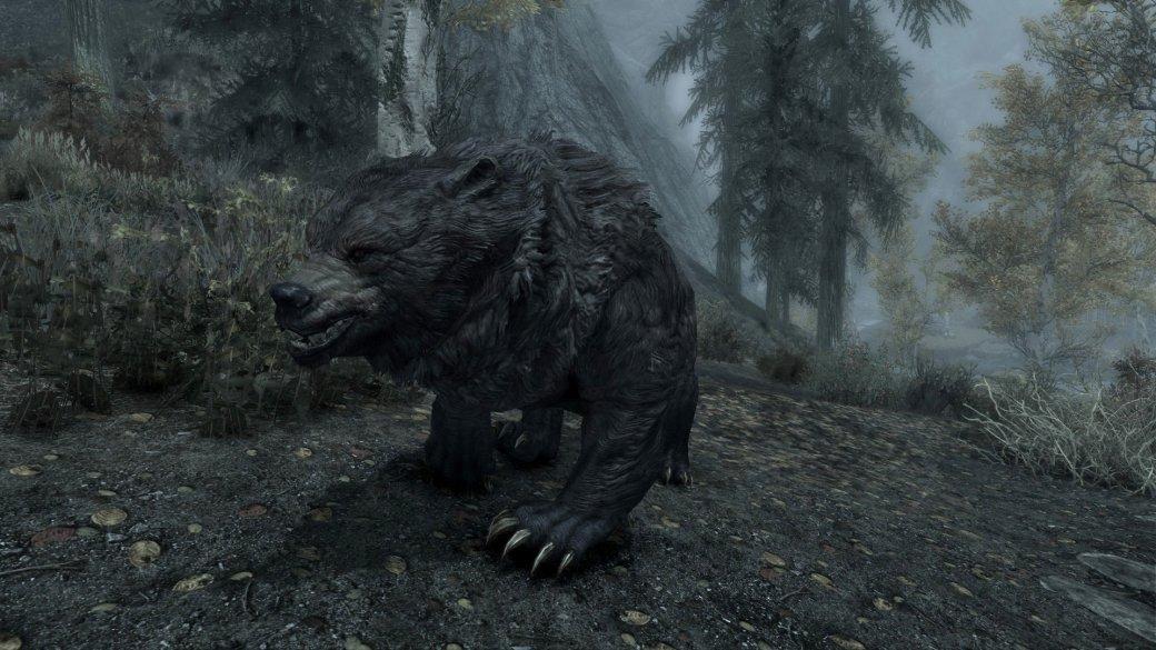 Гифка дня: жутко длинный медведь-акробат в«Скайриме»