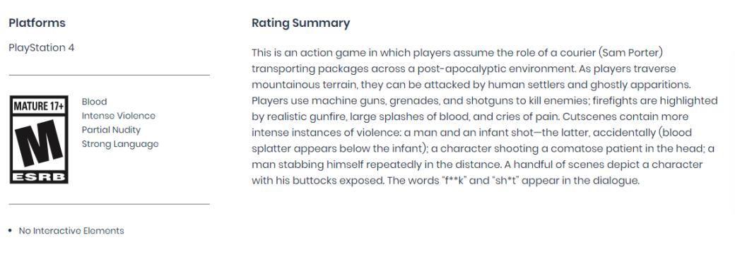 Death Stranding получила «жесткий» рейтинг. Есть описания жутких сцен