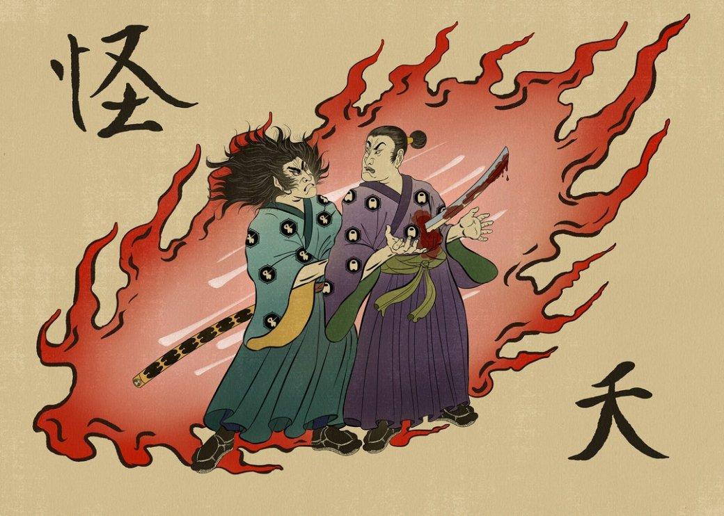 Художник нарисовал Among Usвстиле древней Японии