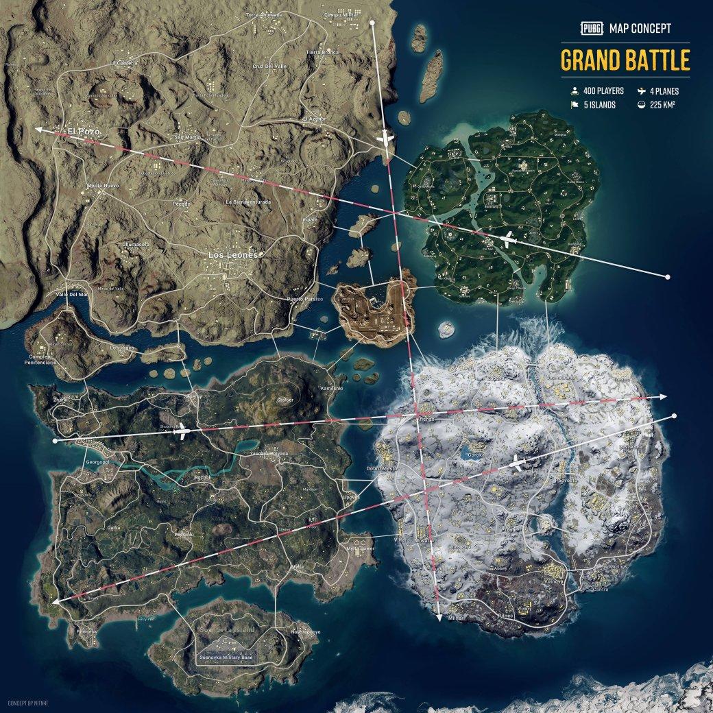 Пользователь создал концепт «Великой битвы» для PUBG, где объединил все карты водну