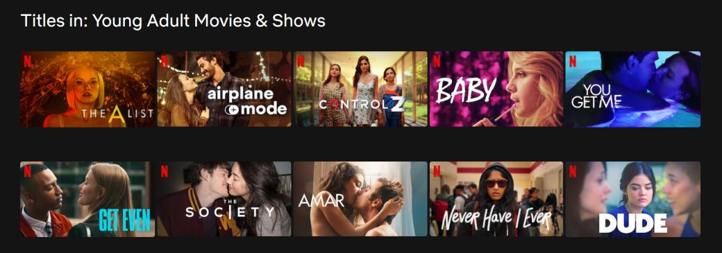 Каталог Netflix по Young Adult