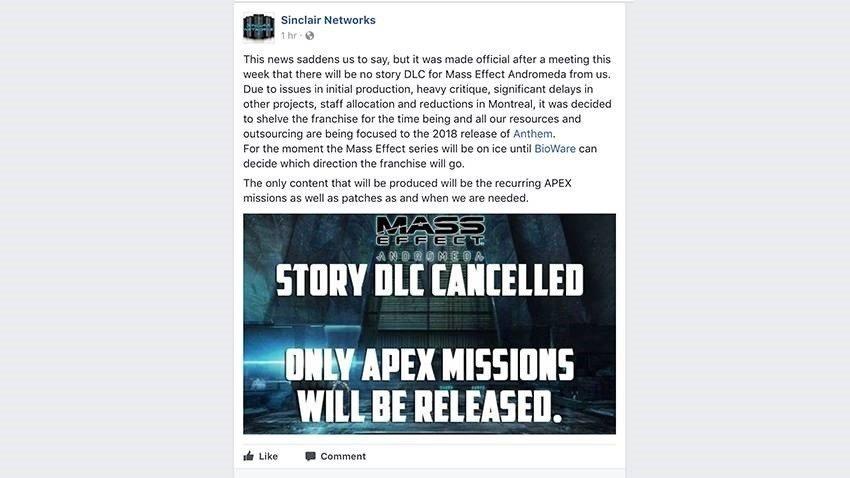 BioWare отрицает отмену сюжетных DLC для ME: Andromeda [обновлено]