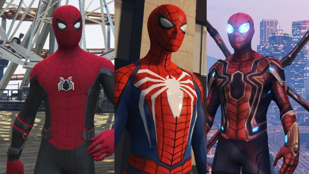 Новый мод для GTA 5 позволит ощутить себя Человеком-пауком, причем вразных вариациях