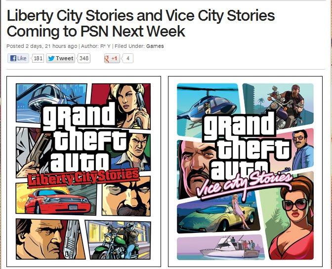 Vice City и Liberty City Stories выйдут в PSN на следующей неделе