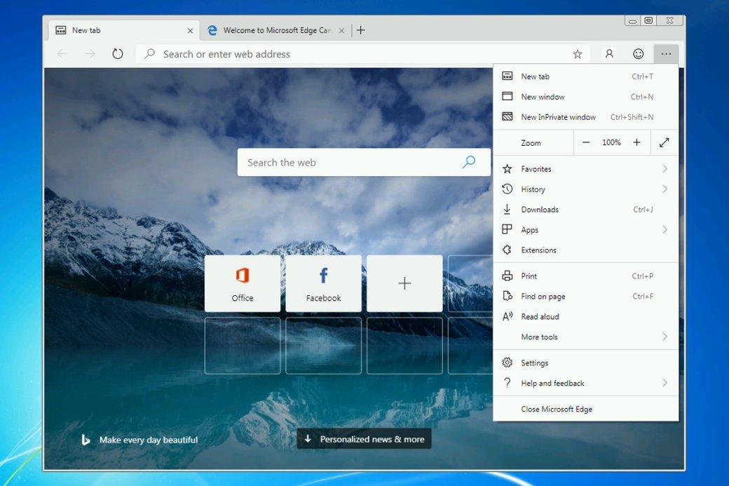 Браузер Microsoft Edge надвижке Chrome вышел для Windows 7и8