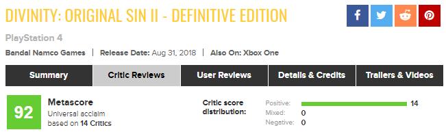 «Лучшая версия итак потрясающей игры»: все критики влюбились вDivinity: Original Sin 2 наконсолях