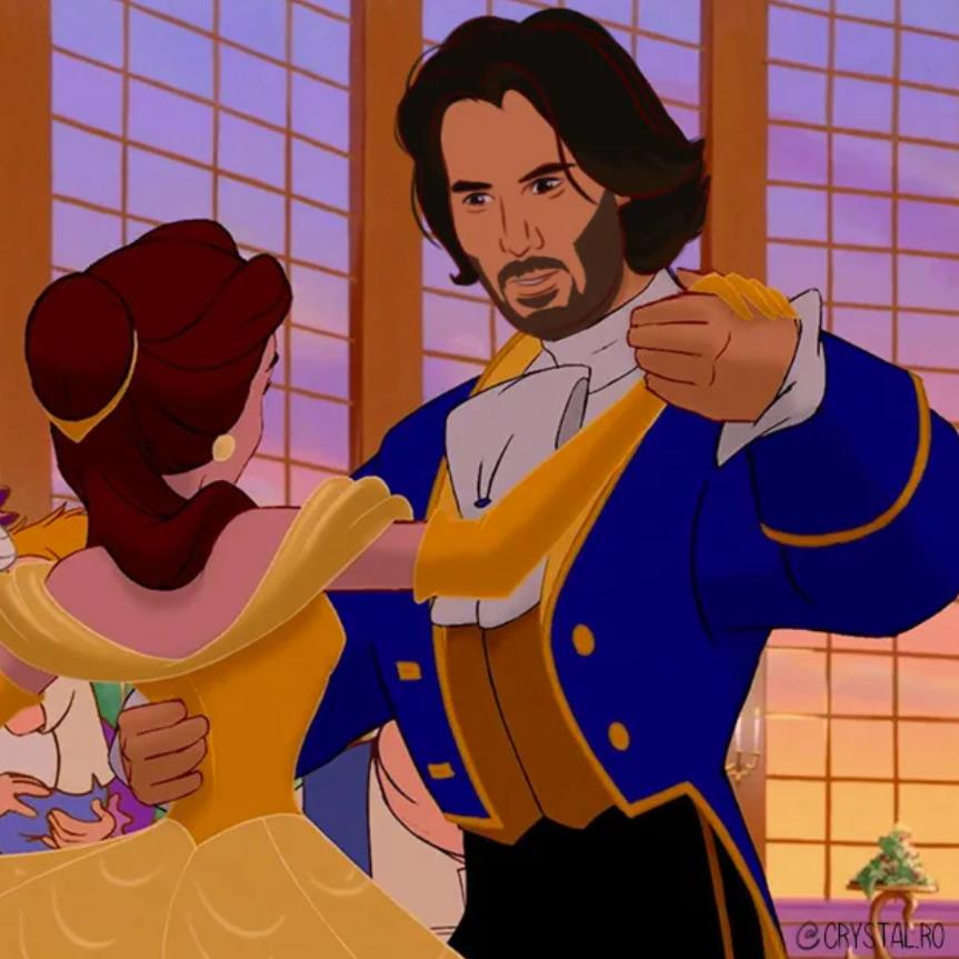 Киану Ривза нарисовали в образах Аладдина, Чудовища и других принцев из мультфильмов Disney