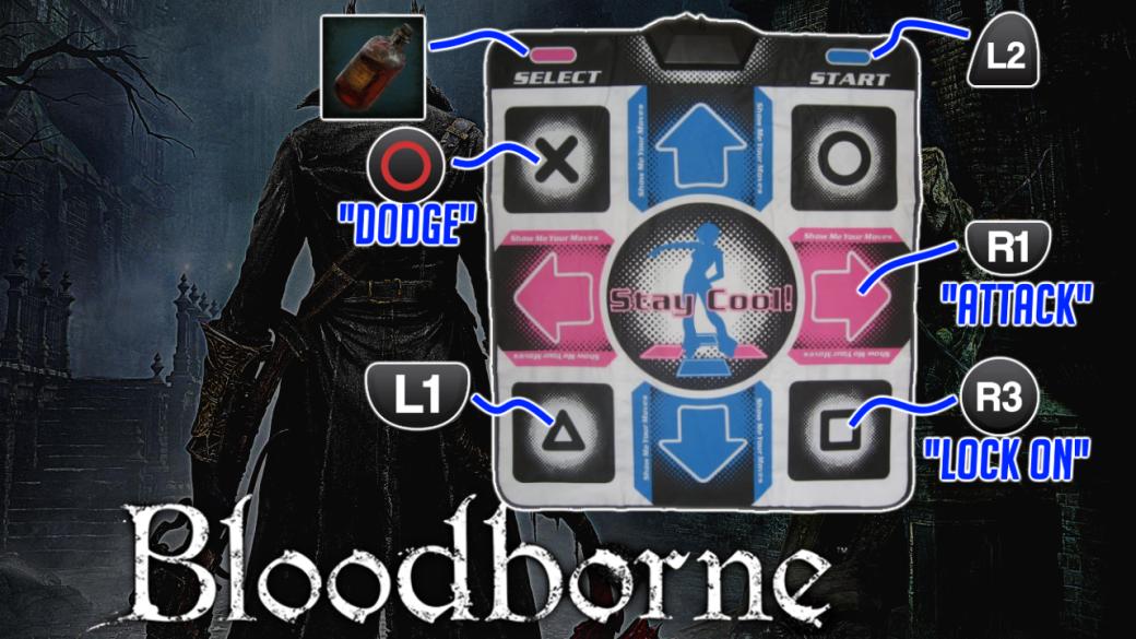 Bloodborneпроходят наковрике для симулятора танцев. Как это возможно
