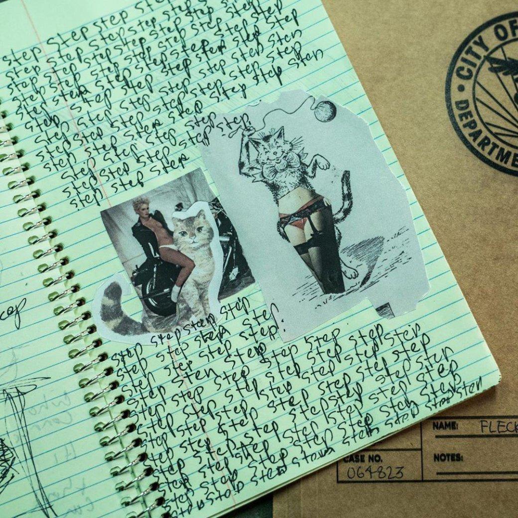 Нановых фото сосъемок «Джокера» можно увидеть содержимое дневника героя