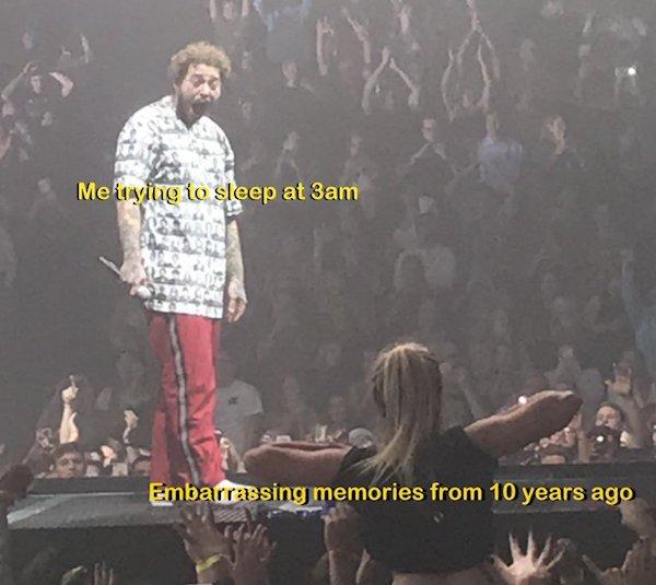 Фанатка Post Malone показала музыканту грудь на концерте. Его выражение лица разобрали на мемы!