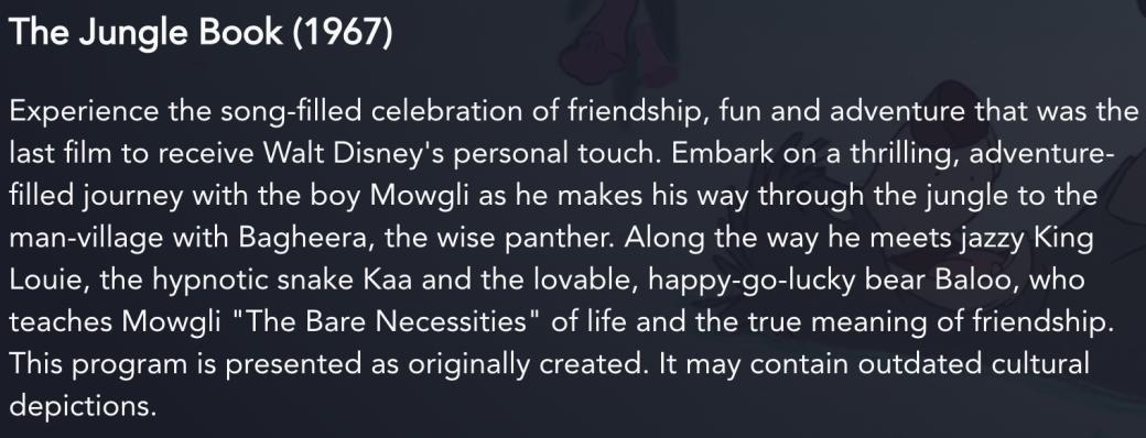В Disney+ есть предупреждение об устаревших культурных стереотипах в старых мультиках