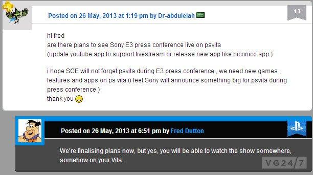 SONY проведет трансляцию для пользователей PS Vita