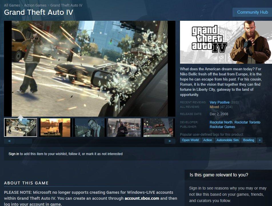 GTA IV по неизвестной причине теперь нельзя купить в Steam