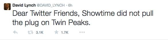Дэвид Линч не будет снимать продолжение сериала «Твин Пикс»