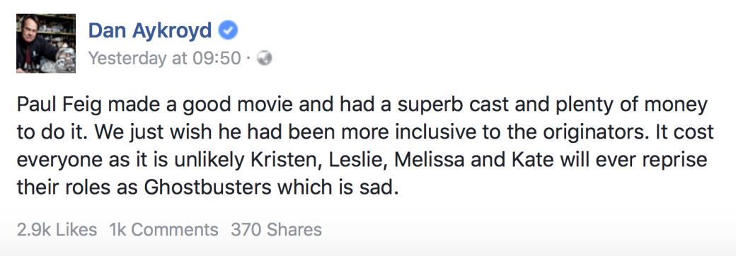 Дэн Эйкройд решил помириться с режиссером «Охотниц за привидениями»