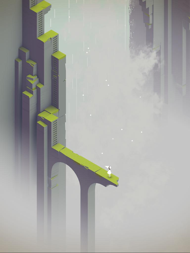 Ида смотрит в небо на кадре из дополнения к Monument Valley