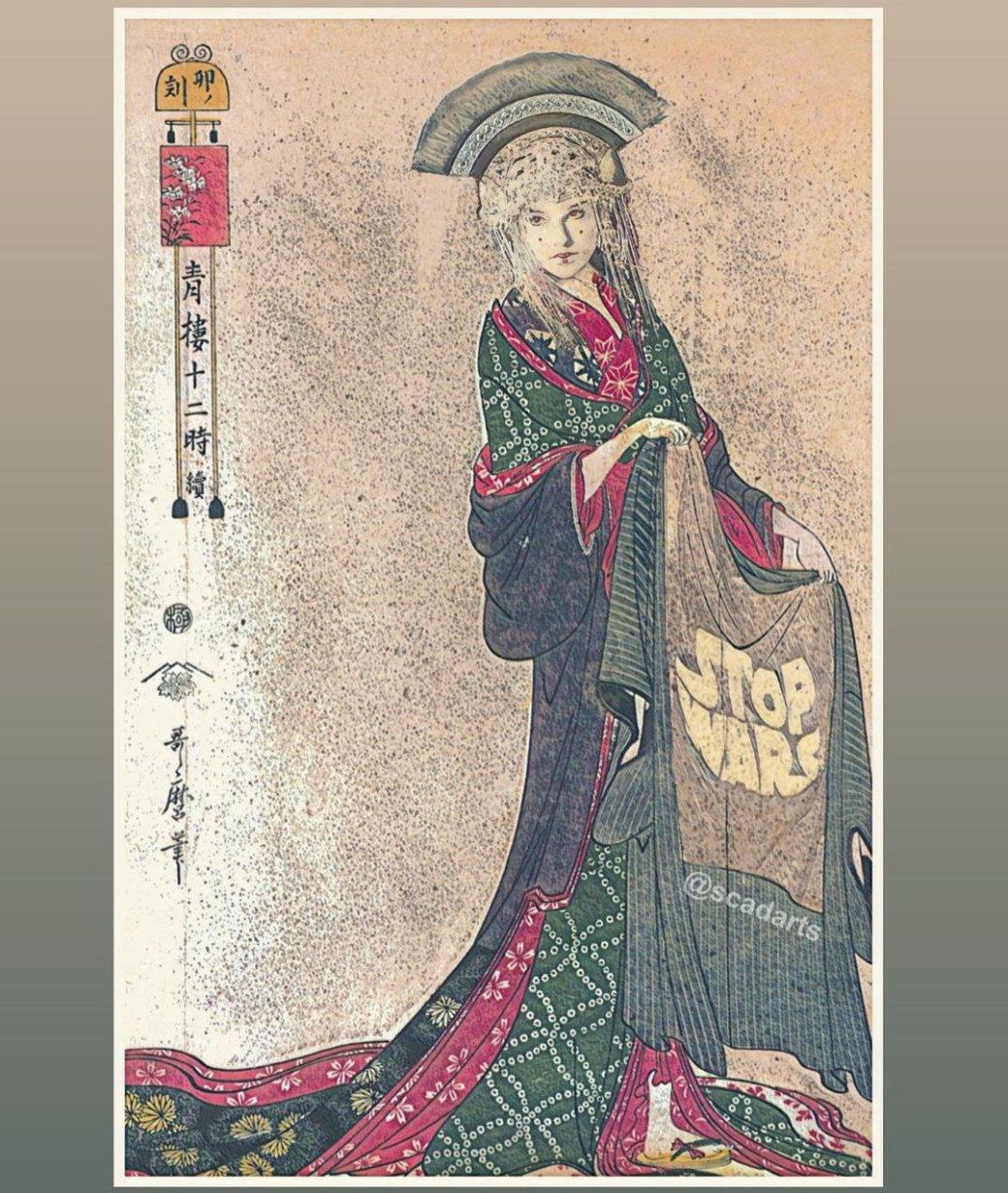Мандалорка, Йода иПадме Амидала: художник рисует «Звездные войны» встиле древней Японии