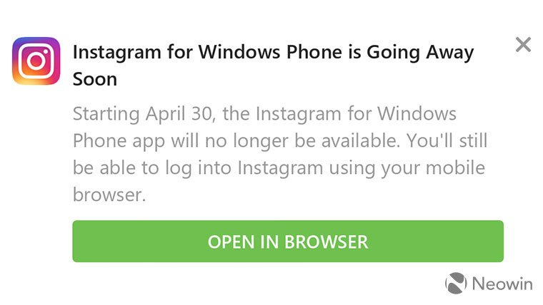 Instagram прекращает работу насмартфонах сWindows10 Mobile
