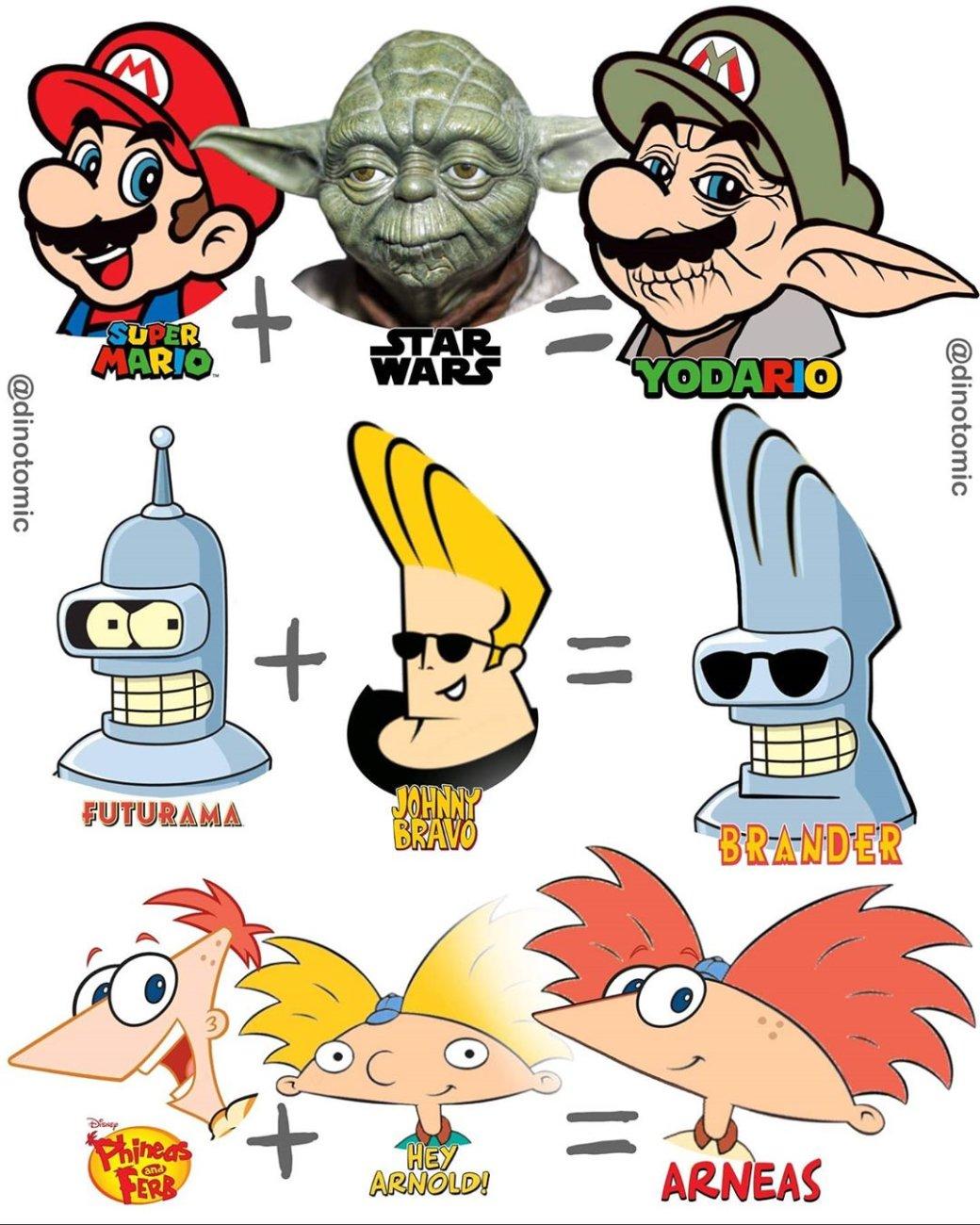 Бэтмен + Аанг, Шрек + Попай, Йода + Марио: художник объединяет различных персонажей накрутых артах