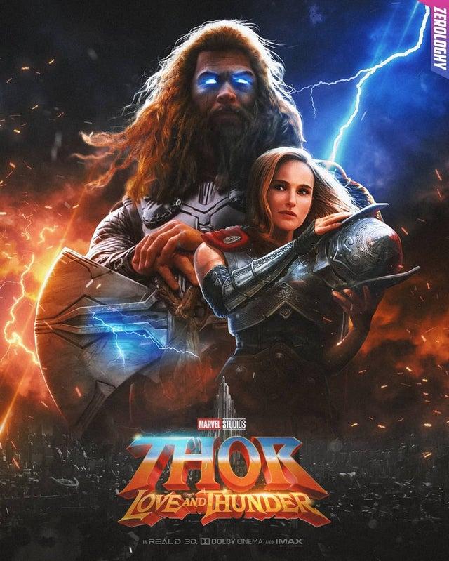 Фанатский постер «Тора: Любовь игром» похож наобложку метал-альбома