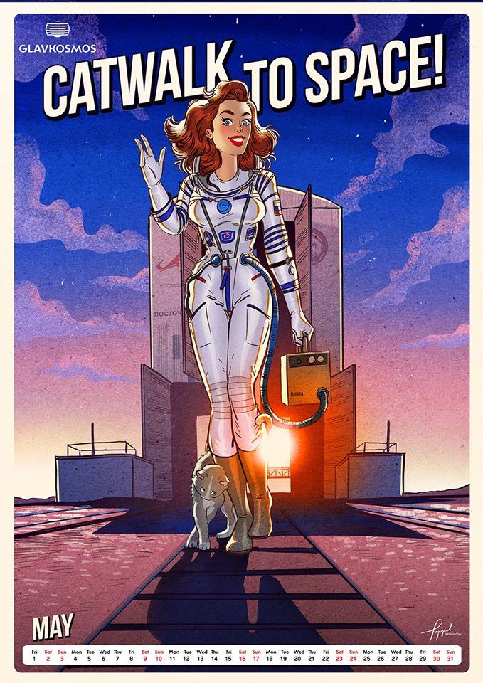 Роскосмос выпустил календарь на2020 год сэффектными пин-ап девушками