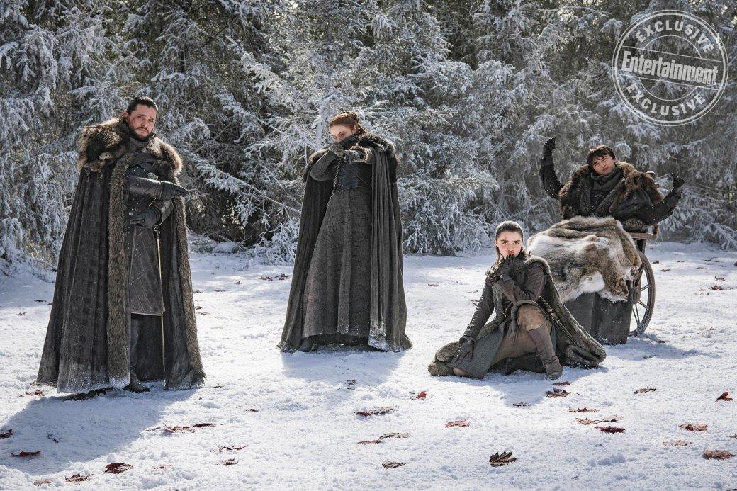 Новые фото закулисья «Игры престолов»: Джон, Дени, Тирион, Санса, Арья иБран