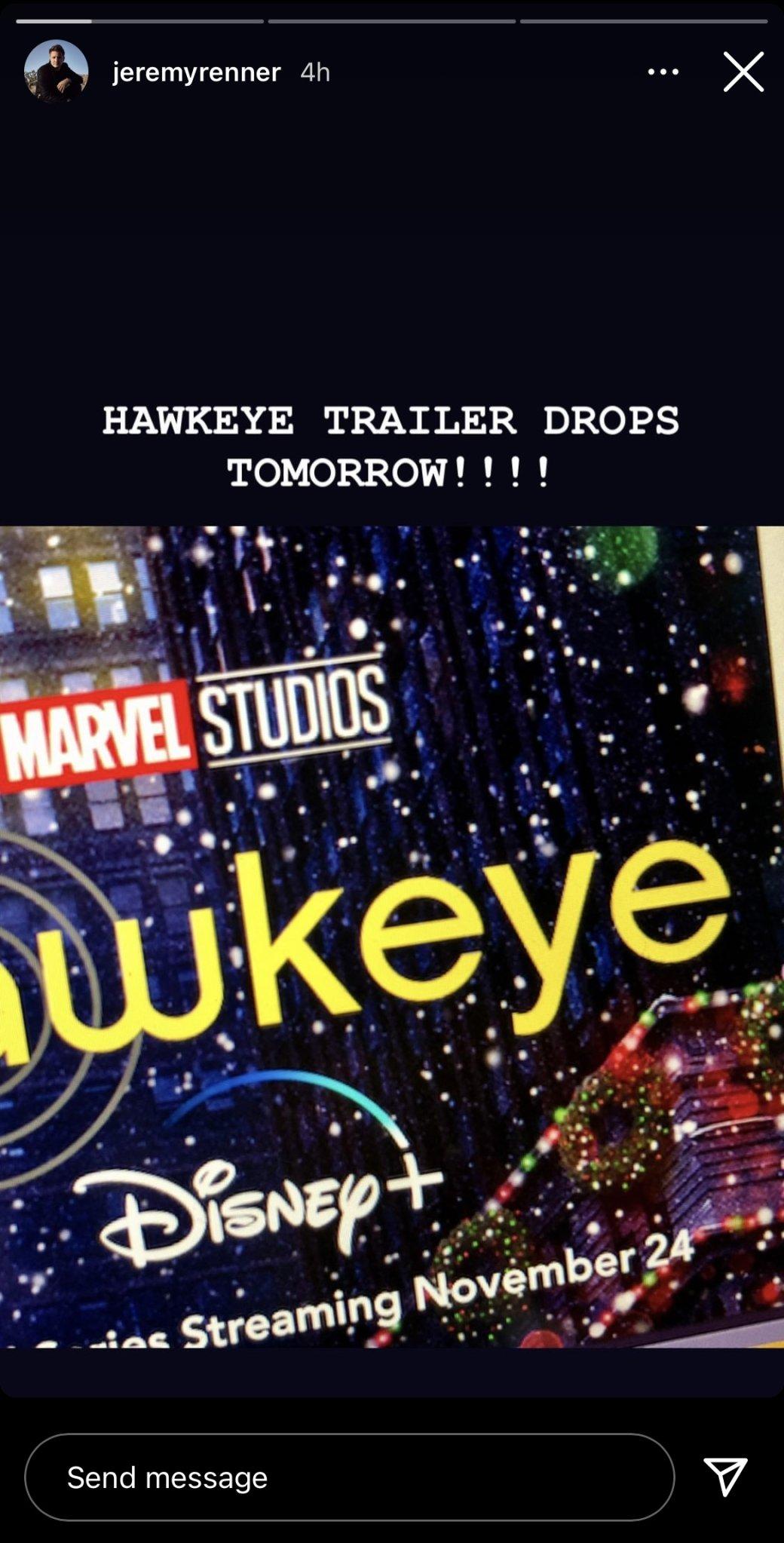 Джереми Реннер назвал дату выхода трейлера сериала «Соколиный глаз» отMarvel