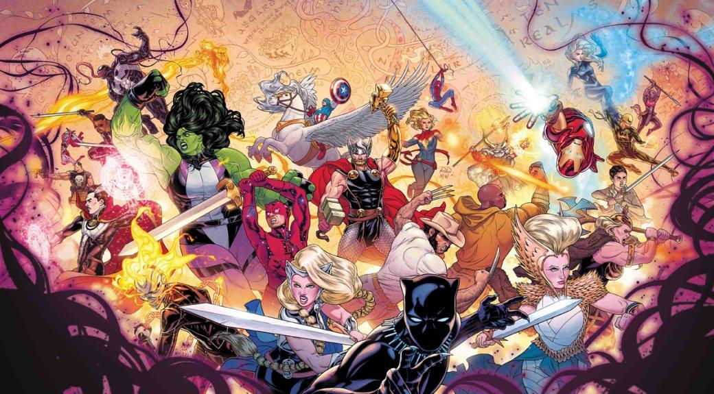 3апреля стартовал новый масштабный кроссовер настраницах комиксов Marvel— The War ofthe Realms. Это финал саги оТоре, начатой Джейсоном Аароном в2012 году ссерией Thor: God ofThunder. Втринадцатом выпуске серии Аарон начал строить линию темным эльфом Малекитом, развязавшим войну вкаждом издесяти миров мирового древа. Последним остался Мидгард, онже Земля, куда ивторглись войска Проклятого иего союзников вThe War ofthe Realms. Рисует основную историю Рассел Дотерман.
