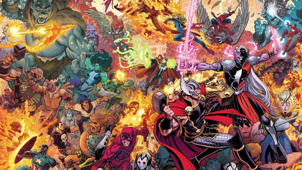 10июля вышел эпилог War ofthe Realms— нового глобального события вкомиксах Marvel, вкотором темный эльф Малекит сосвоей армией вторгся наЗемлю. Его цель— захватить последнее царство мирового древа Иггдрасиля, оставшееся нетронутым— Мидгард. Однаконапути встанет нетолько хранитель этого мира Тор, ноиего коллеги-супергерои.