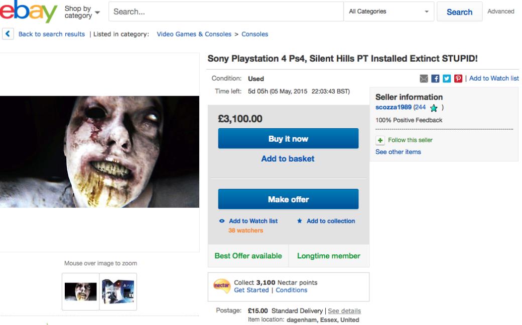 PS4 с установленным хоррор-демо P.T. идут по 244 тыс рублей на eBay
